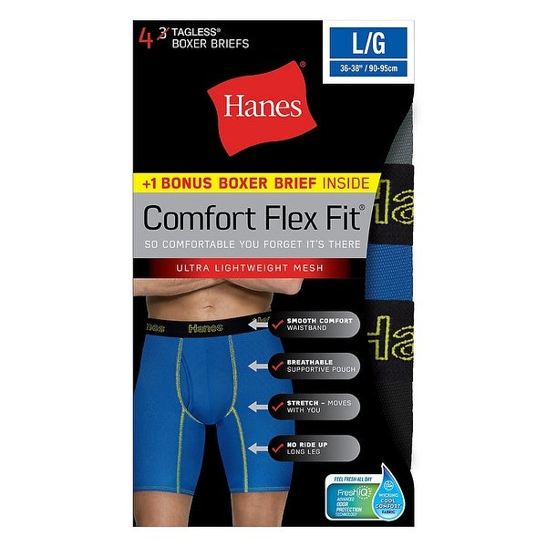 Hanes Sport Brief 5-Pack Men/'s FreshIQ Cool Comfort Breathable Mesh Tag Free