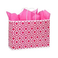 "Pack Of 250, Vogue 16 x 6 x 12"" Hot Pink Geo Graphics Recycled Paper Shopping Bag W/White Paper Twist Handles"
