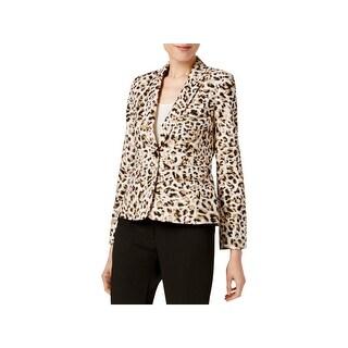 Calvin Klein Womens Blazer Leopard One Button