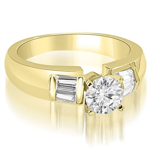 0.90 cttw. 14K Yellow Gold Round and Baguette Cut Diamond Engagement Ring