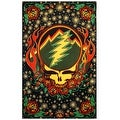 Grateful Dead Steal Your Face Tapestry with Roses Hippie Hanging Wall Art Scarlet Fire 60 x 90 - Thumbnail 0