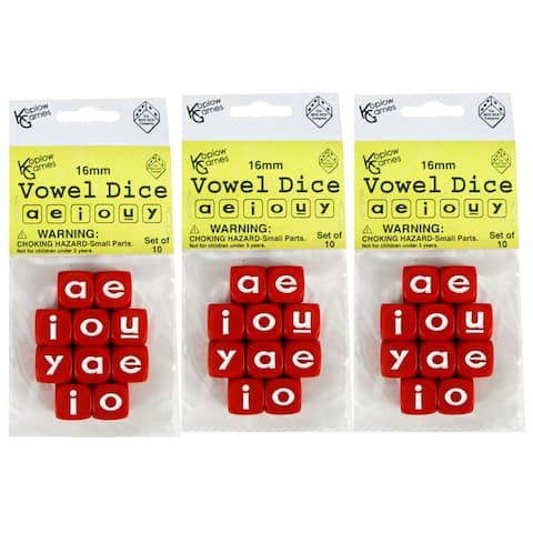 (3 St) Vowel Dice Set 10 Pc