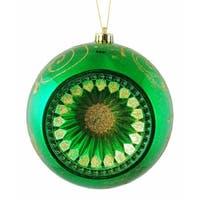"Xmas Green Retro Reflector Shatterproof Christmas Ball Ornament 8"" (200mm)"