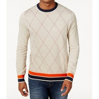 Tommy Hilfiger Beige Mens Size 2XL Archer Argyle Crewneck Sweater