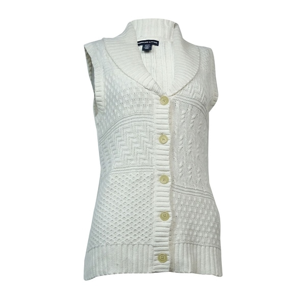 Shop American Living Women s Mixed-Knit Buttoned Sweater Vest - On ... 3e06a2a18