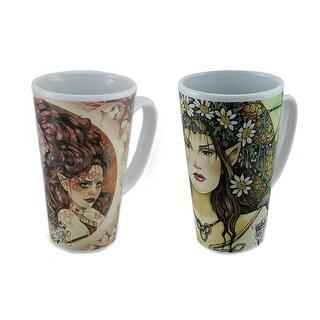 2 Pc. Linda Ravenscroft Grey Lady & Eclipse Design Tall Ceramic Fairy Mug Set