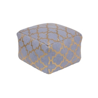 "20""Jean Blue and Gold Moroccan Upholstered Woven Foot Stool Ottoman"