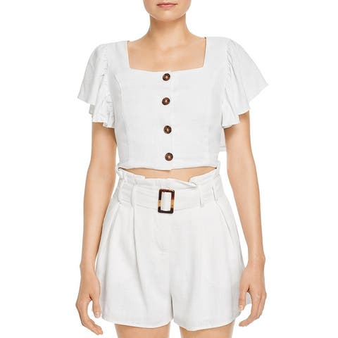 Charlie Holiday Womens Bayview Crop Top Bell Sleeve Button Front - White