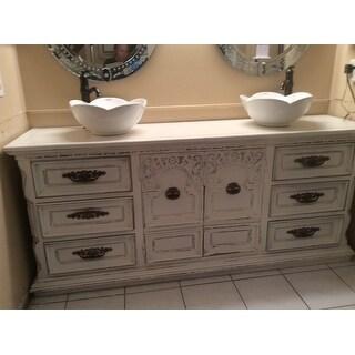 ELIMAX'S 301 Lotus Round Shape White Porcelain Ceramic Bathroom Vessel Sink