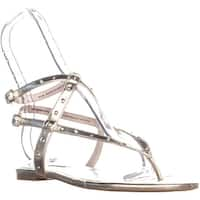 Nine West Simcha Flat Double Buckle Strap Sandals, Light Gold - 10.5 us