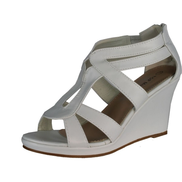 Top Moda Womens Job-8 Gladiator Round Peep Toe Platform Sandals Ankle Strappy Wedge Heel