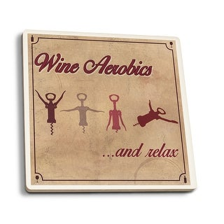 Wine Aerobics - LP Artwork (Set of 4 Ceramic Coasters - Cork-backed, Absorbent)