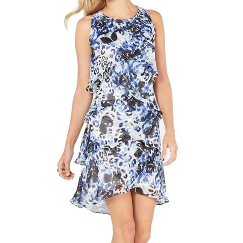 SLNY Women's Dress Blue Size 4 Shift Mixed Print Asymmetrical Tiered