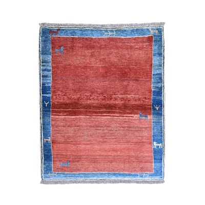 """Shahbanu Rugs Red Thick and Plush Persian Gabbeh, Abrash, Dogs and Little Figurines Pure Wool Hand Knotted Rug (4'2""""x5'2"""")"""
