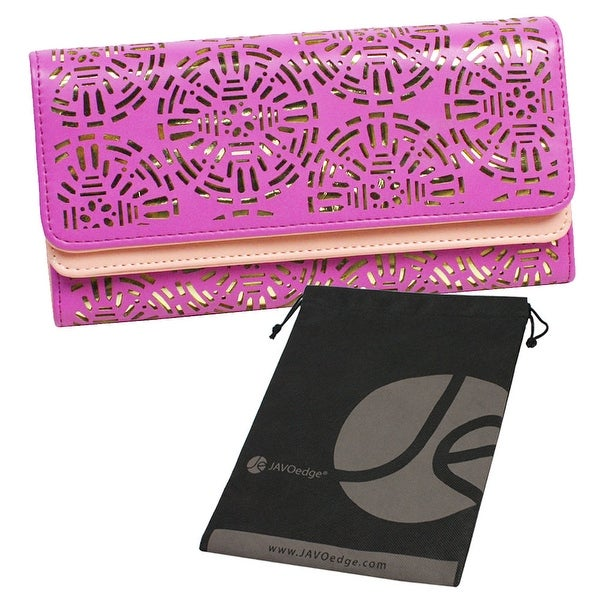 Tri Fold Slim Lace Cut Out Clutch Hand Wallet for Phone, Cards, ID with Bonus Reuseable Storage Bag - Purple