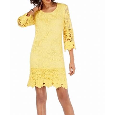 Alfani Women's Dress Sunshine Yellow Size Large L Shift Crochet Detail
