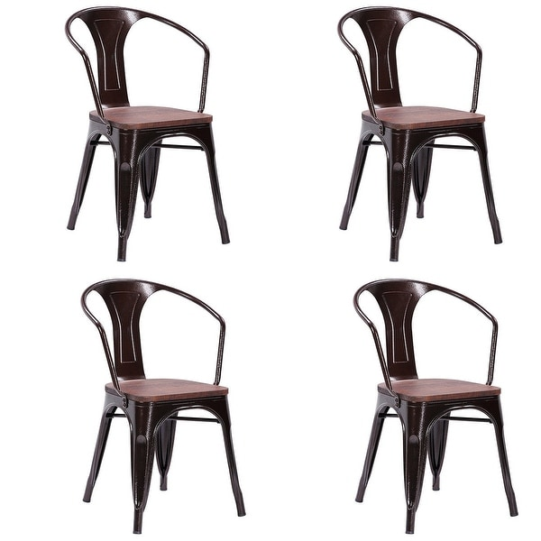 Costway Copper Set Of 4 Metal Wood Counter Stool Kitchen: Shop Costway Set Of 4 Vintage Style Metal Bar Side Chairs