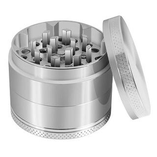 4 pc Metal Magnetic 2 in. Tobacco Herb Grinder w/Pollen Catcher & Scraper (Steel)