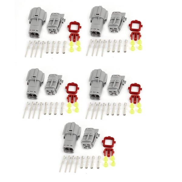 Unique Bargains 5 Kits Gray Wire Connector Plug in 4 Pins Waterproof Weather Proof for Car