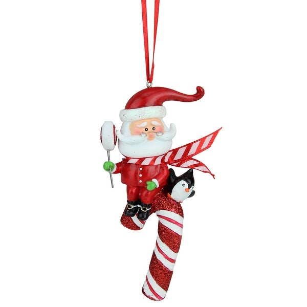 """4.25"""" Peppermint Twist Santa Claus on Red and White Glitter Candy Cane Christmas Ornament"""
