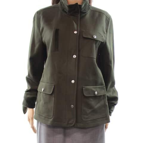 Nordstrom Gray Womens Large Button Down Velvet Trim Jacket