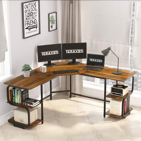 Teraves Home Office Corner Desk L-Shaped Computer Desk with Bookshelves