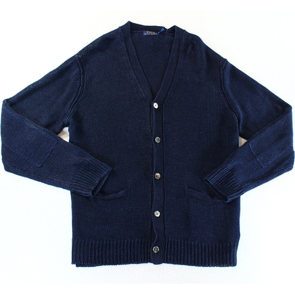 Polo Ralph Lauren NEW Navy Blue Mens Size Large L Cardigan Sweater
