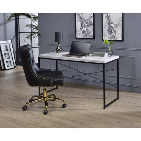 ACME Jurgen Desk in Antique White-Ash & Black