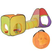 Costway 3 In 1 Folding Pop Up Kids Play Tent Playhouse Tunnel w 200 Ocean Balls Bag - MultiColor
