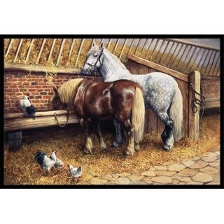 Carolines Treasures BDBA0135MAT Horses Eating with the Chickens Indoor or Outdoor Mat 18 x 27