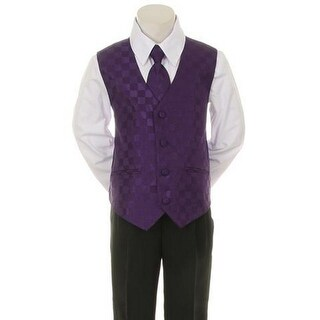 Kids Dream Purple Checkered Vest Necktie Special Occasion Boy Suit 5-20