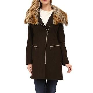 Via Spiga NEW Military Green Womens Size 8 Faux-Fur Asymmetriccal Coat