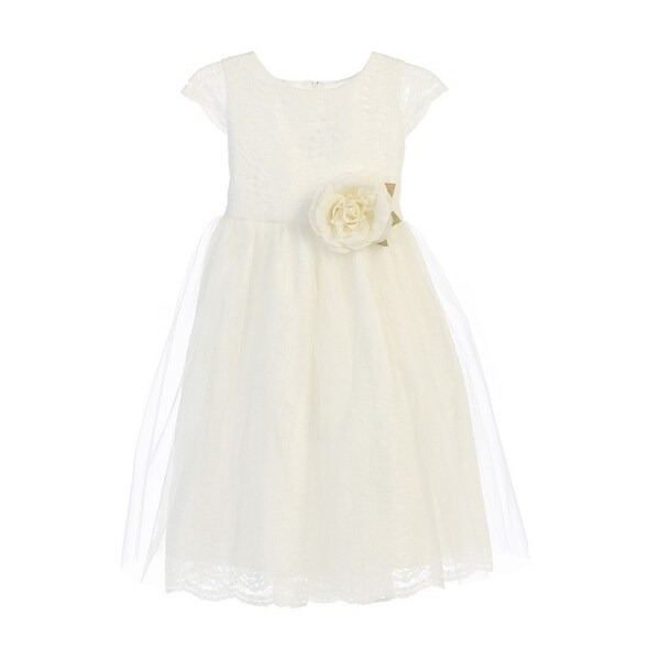 72312eabdc005 Shop Sweet Kids Little Girls Off-White Rose Lace Tulle Flower Girl Dress -  Free Shipping Today - Overstock - 18166299