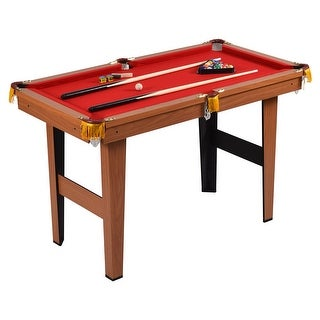Costway 48'' Mini Table Top Pool Table Game Billiard Set Cues Balls Gift Indoor Sports - Red