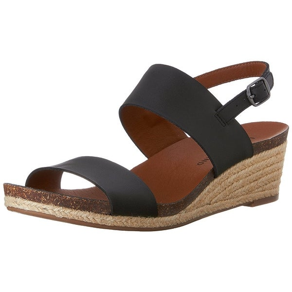 Lucky Brand Womens Jette Leather Open Toe Casual Platform Sandals