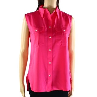 INC NEW Pink Women's Size 8 Sleeveless Double Pocket Button Down Shirt