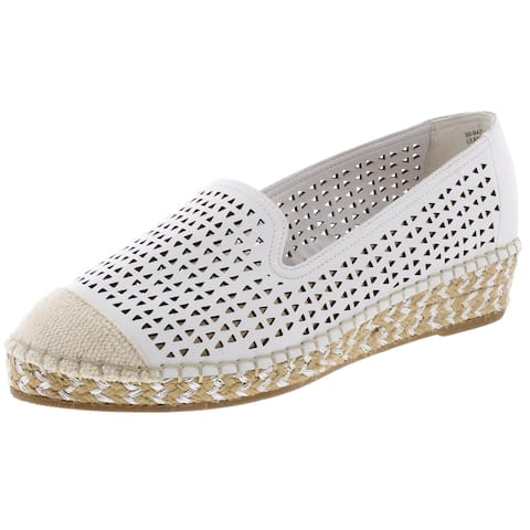 Bella Vita Womens Channing Espadrilles Leather Loafers - White