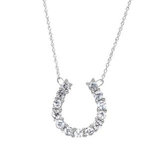 1 ct Created White Sapphire Horseshoe Necklace in 10K White Gold