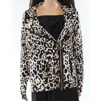 Belldini Brown Womens Size Large L Animal-Printed Lapel Jacket