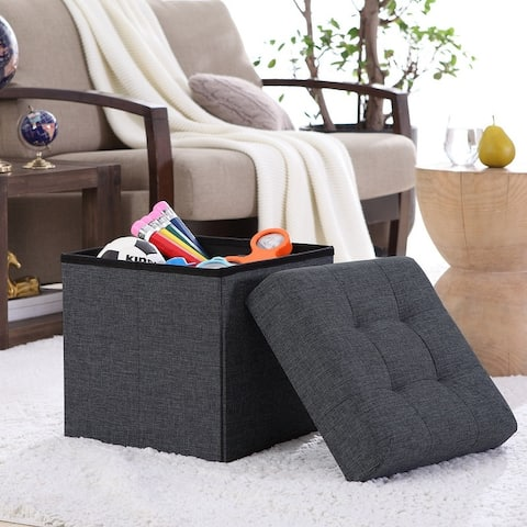 "Foldable Tufted Linen Storage Ottoman Square Cube Foot Rest Stool/Seat - 15"" x 15"" x 15"""