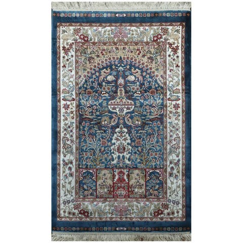 Handmade One-of-a-Kind Kashmiri Silk Rug (India) - 2' x 3'