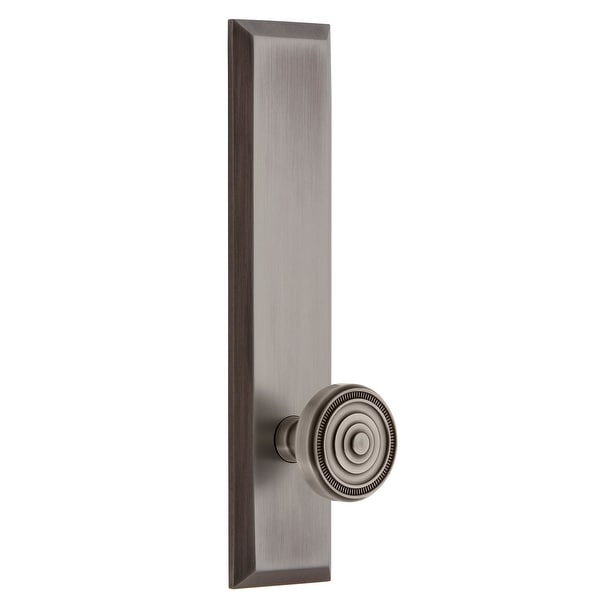 """Grandeur FAVSOL_TP_PRV_238_LH Fifth Avenue Solid Brass Tall Plate Left Handed Privacy Door Knob Set with Soleil Knob and 2-3/8"""""""