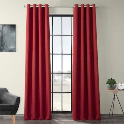 Exclusive Fabrics Faux Linen Grommet Room Darkening Curtain (1 Panel)