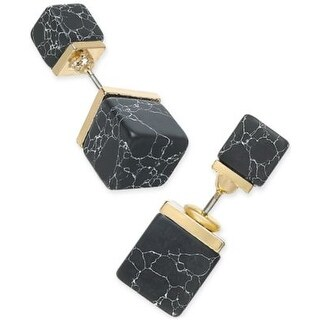 Inspired Life Gold-Tone Black Stone Cube Front and Back Earrings - Gold