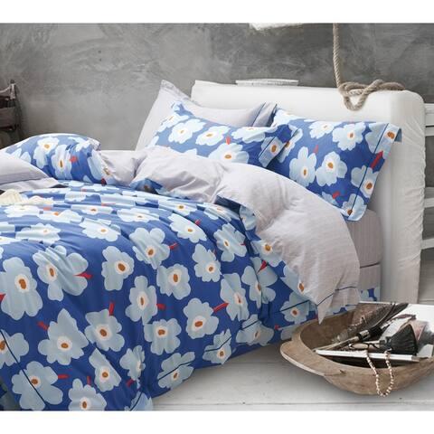 Emerson Blue Floral 100% Cotton Reversible Duvet Cover Set