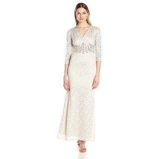 Alex Evenings Embellished Lace A-Line Evening Gown Dress