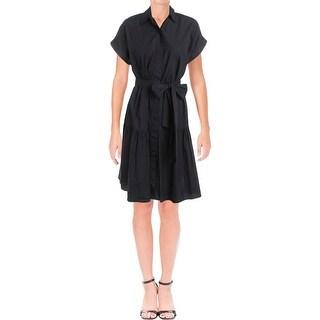 Lauren Ralph Lauren Womens Dikelta Wear to Work Dress Button Front Flounce Hem