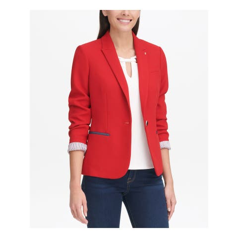TOMMY HILFIGER Womens Red Single Button Wear To Work Jacket Size 0