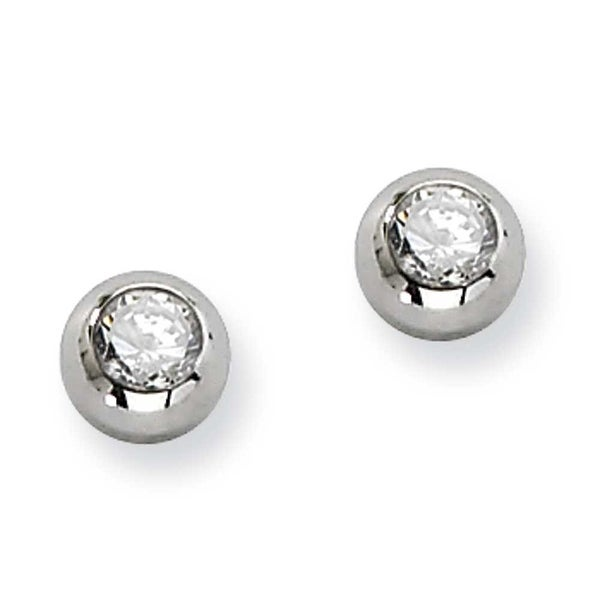 Chisel Stainless Steel Polished CZ Post Earrings