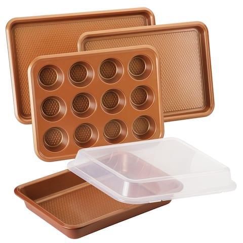 Ayesha Bakeware Nonstick Baking Pan Set, Copper, 5-Piece